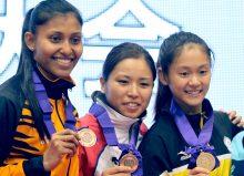 優勝した中華台北のウェン(右)3位に入ったマレーシアのシャキーラ(左)※写真は2015年アジア大会より