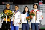 -55kgを代表する選手たち 左からシャキーラ(マレーシア)エレナ(フランス)サラ(イタリア)山田沙羅(日本)